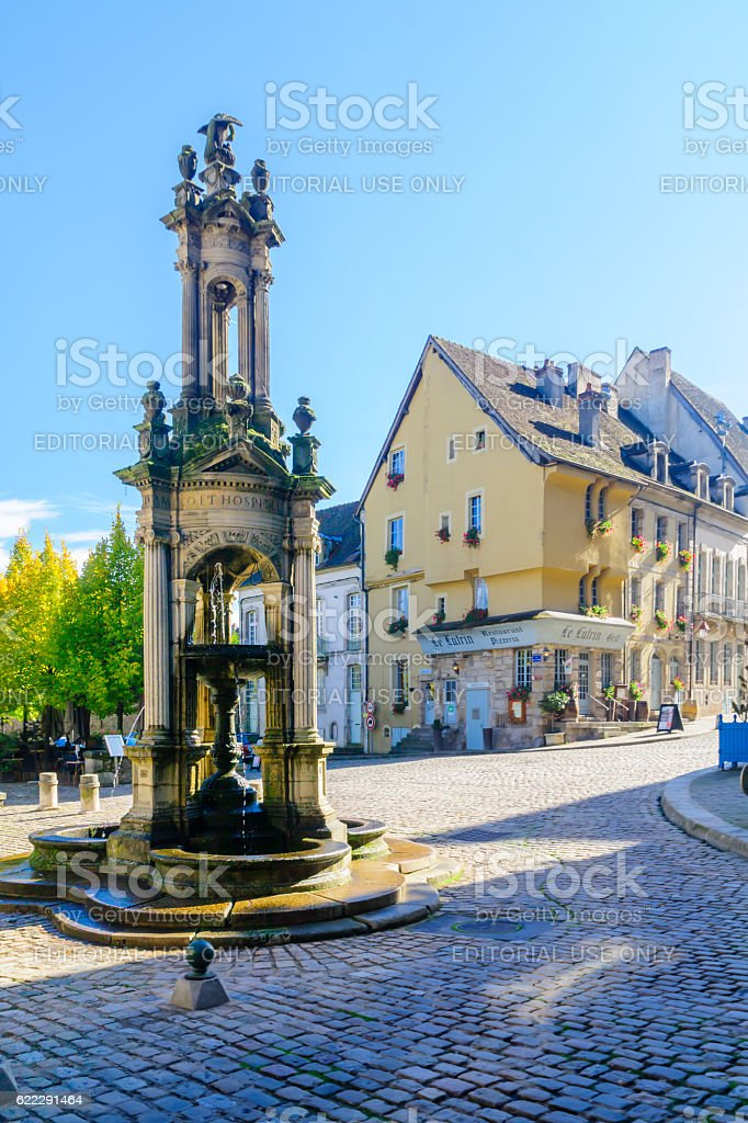 Saint-Lazare Fountain, in Autun stock photo