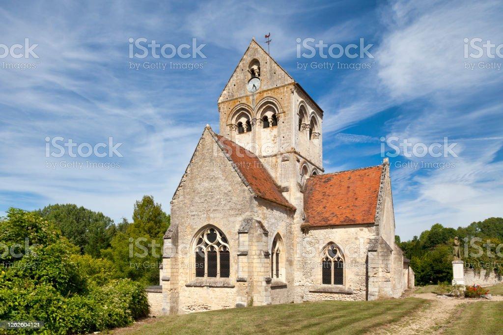 Saint-Martin Church in Montigny-l'Allier The Saint-Martin Church is a catholic church build during the 12th century in Montigny-l'Allier, a village in the department of Aisne, Hauts-de-France. Aisne Stock Photo