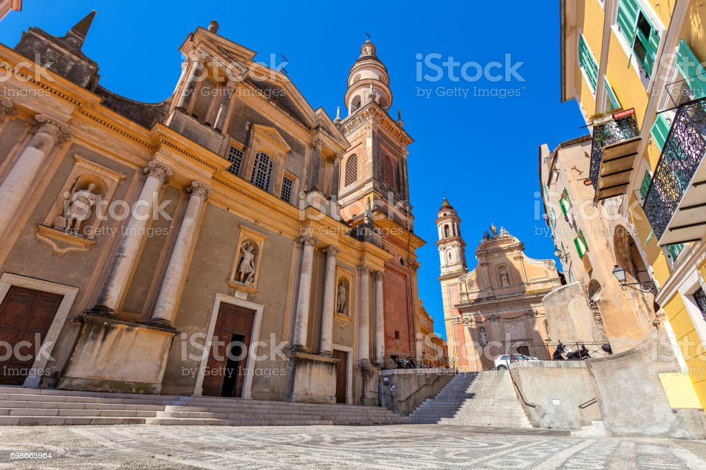 Saint-Michel Archange Basilica in Menton, France. stock photo
