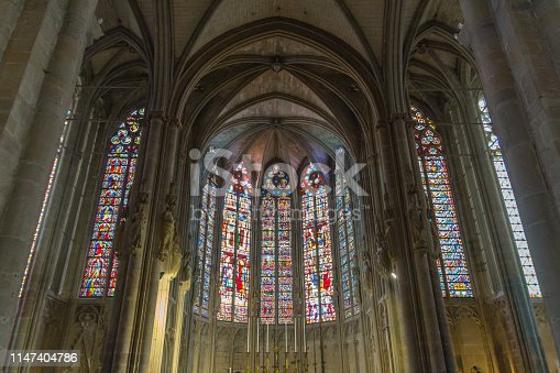 Stained Glass in La basilique Saint-Nazaire of the medieval city Carcassonne in France