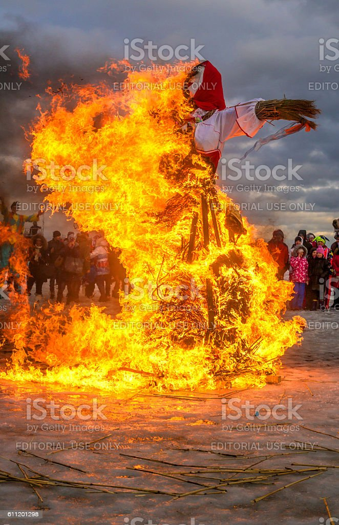 Saint-Petersburg, Russia - Feast Maslenitsa on Vasilyevsky Island. stock photo