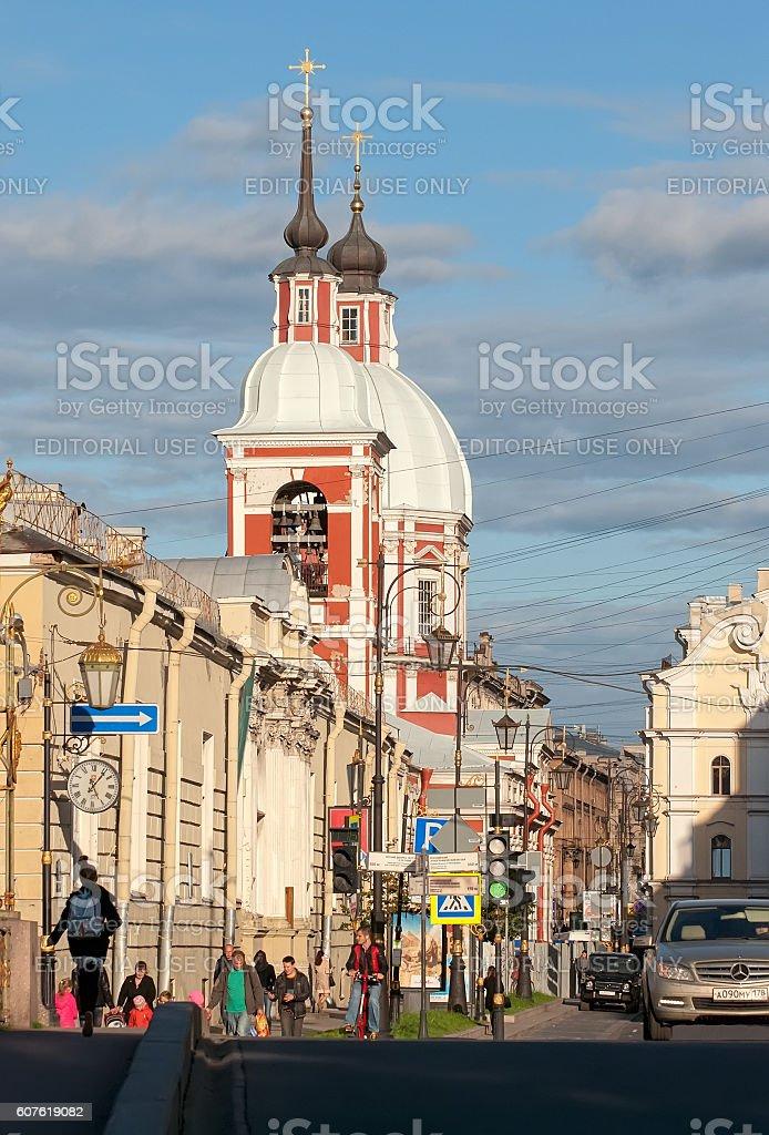 Saint-Petersburg, Russia. People on Pestel Street stock photo