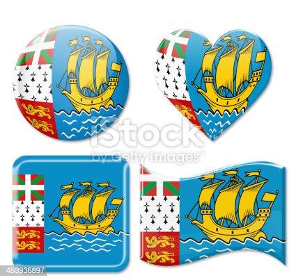 Saint-Pierre and Miquelon Flags & Icon Set Isolated on White