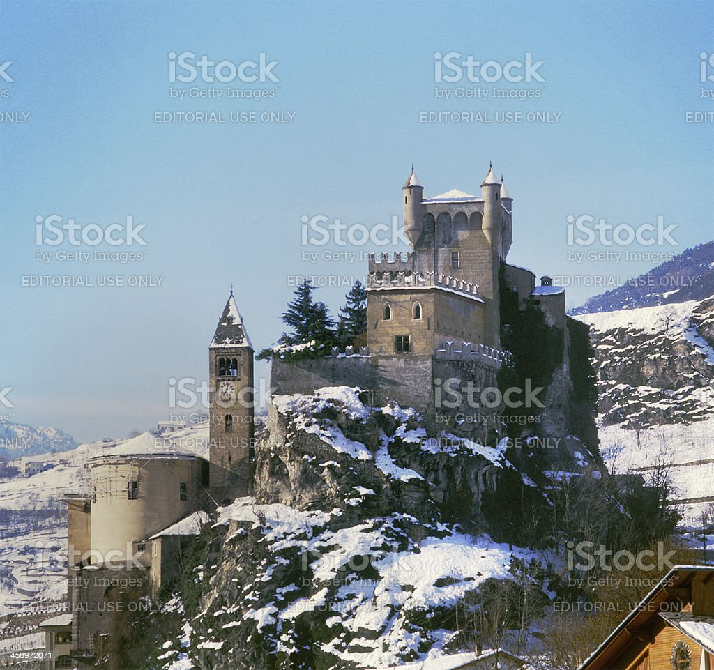 Saint-Pierre Castle with the snow, Aosta, Italy stock photo