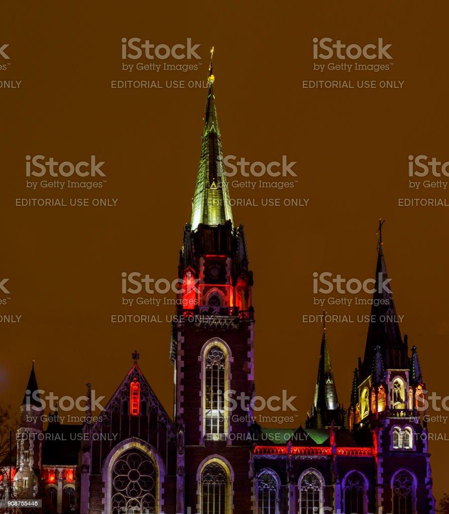 Saints Olga and Elizabeth the nightly churches of lviv Ukraine stock photo