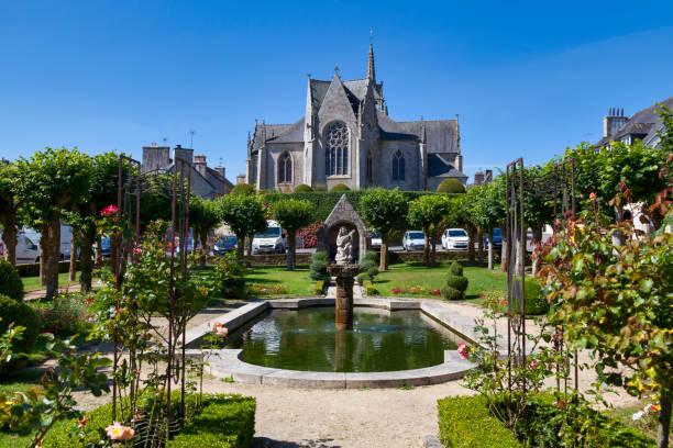 Saint-Ténénan church in Guerlesquin stock photo
