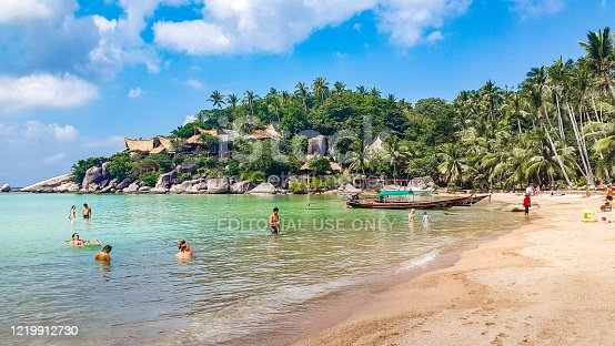 In January 2016, tourists were swimming in Sairee beach, Koh Tao, Thailand