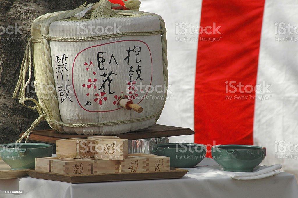 Sake barrel royalty-free stock photo