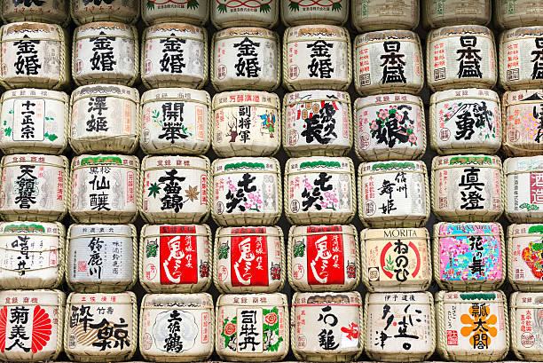 Sake barrels at Meiji Jingu Shrine in Tokyo, Japan stock photo