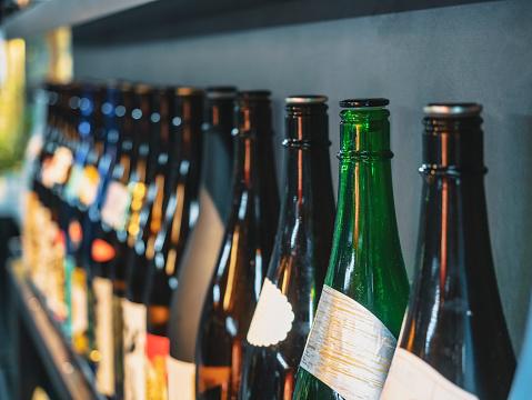 Sake Bottles in Japanese Bar Izakaya Restaurant