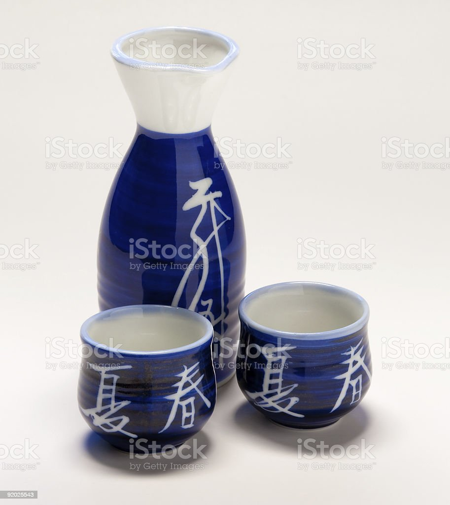 Sake flask and cups royalty-free stock photo