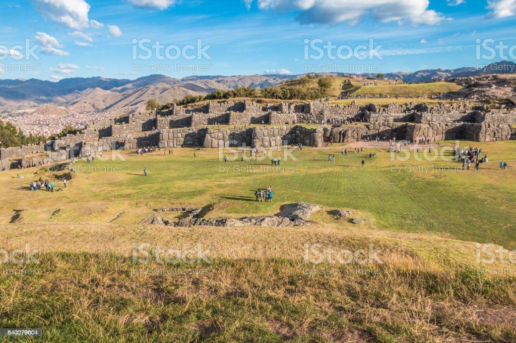 Saksaywaman ruin in Cusco Peru stock photo