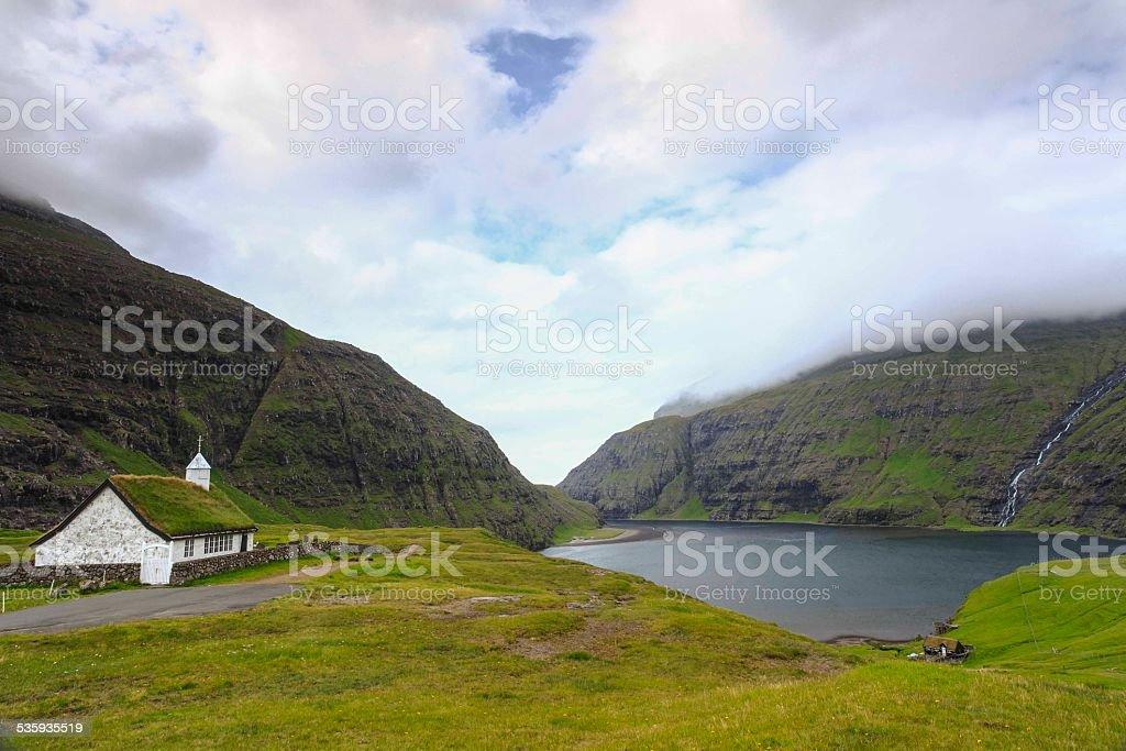 Saksun picturesque village of  Streymoy. Faroe Islands stock photo