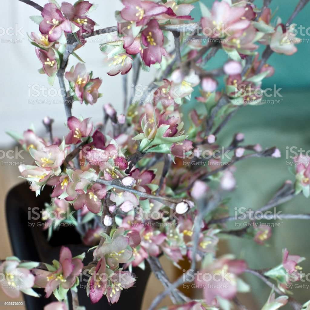 Sakura Branch Cherry Blossom Pink Artificial Flowers Made Of Silk On