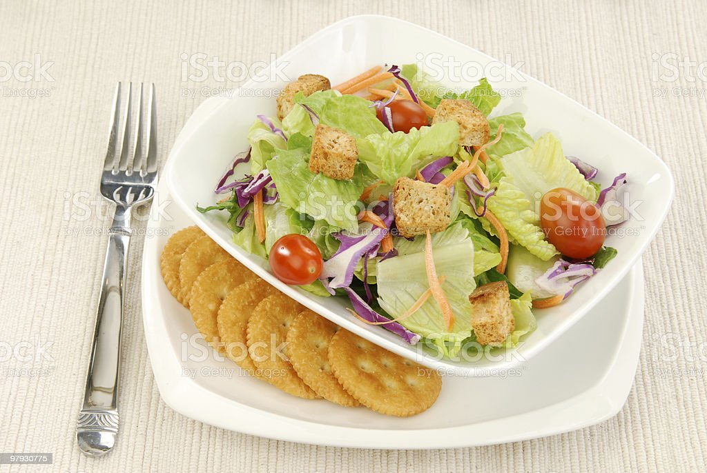 Salad and crackers royalty-free stock photo