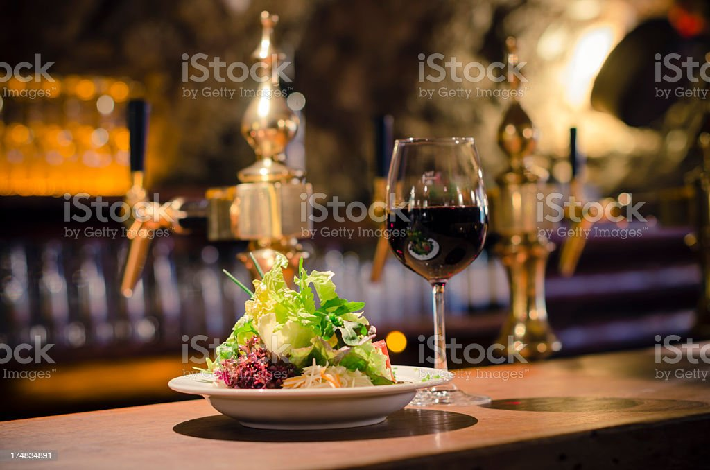 salad and red wine stock photo