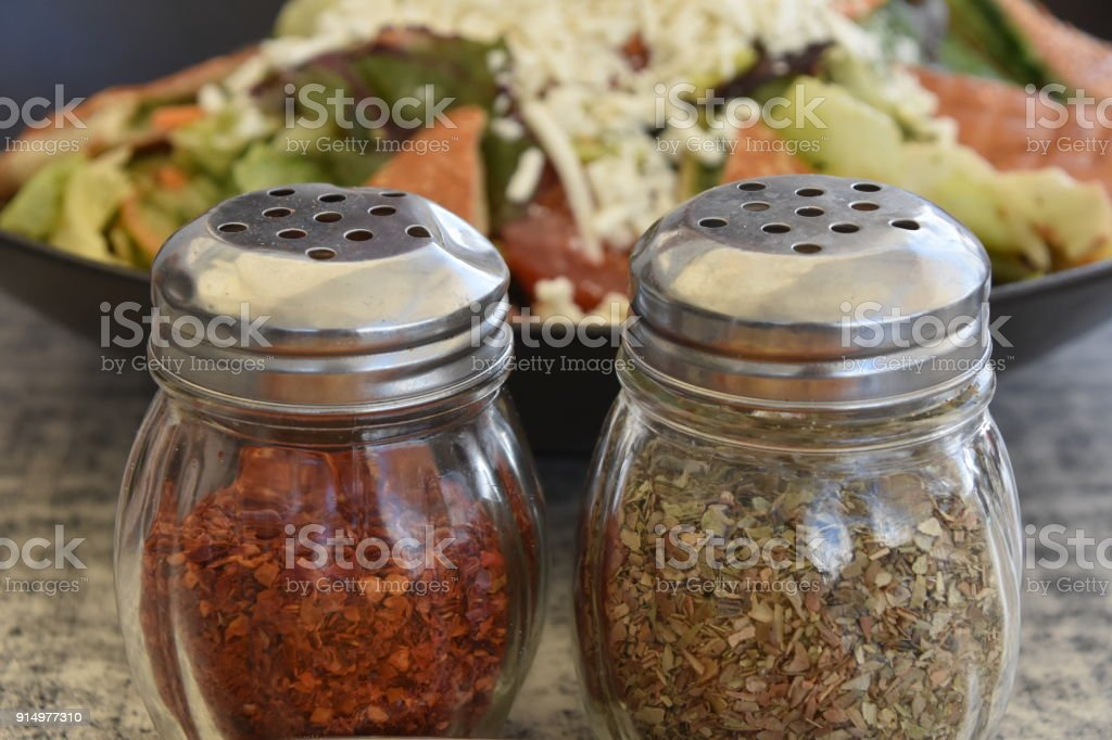 Salad and spices stock photo