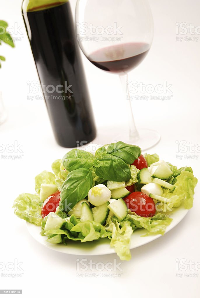 Salad and Wine royalty-free stock photo