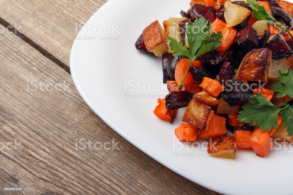 Salad baked beetroot, fresh carrots and potatoes. Healthy food from organic products zbiór zdjęć royalty-free