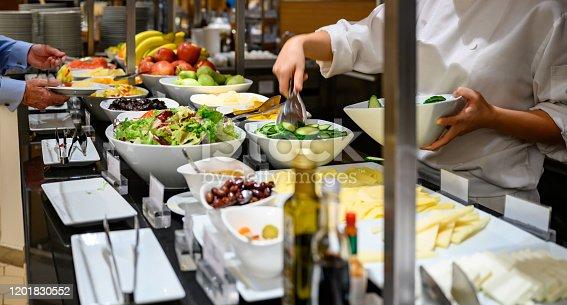 Salad bar at cafeteria, unrecognizable people, Nikon Z7