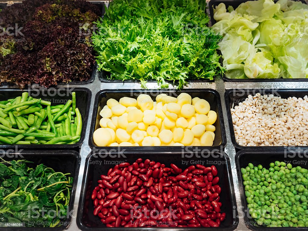 Salad Bar Fresh Vegetables sliced Healthy food stock photo