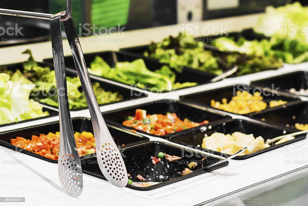 Salad  bar in a buffet line stock photo