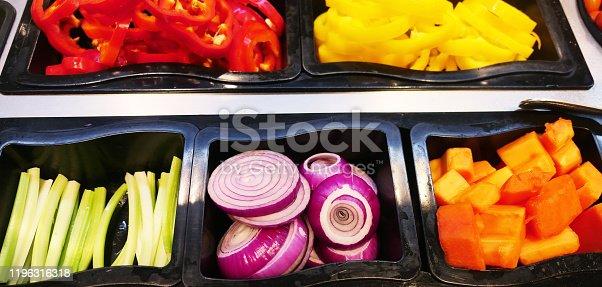 Salad bar with fresh vegetables