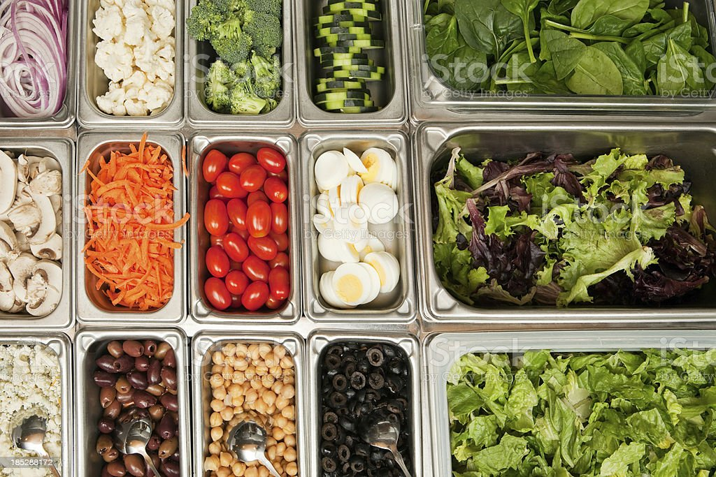 Salad Bar Vegetables from Above stock photo
