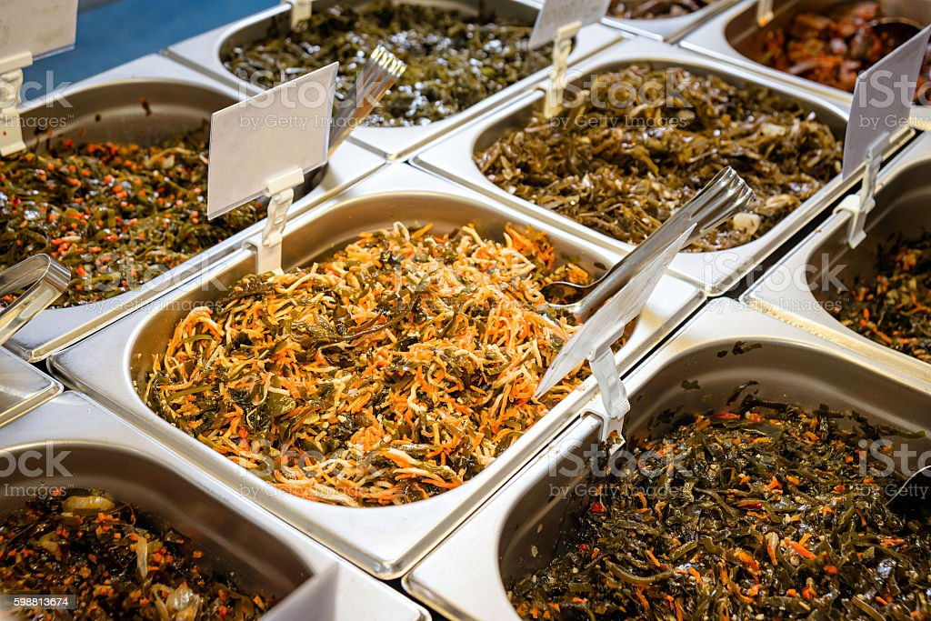 Salad bar with vegetables stock photo