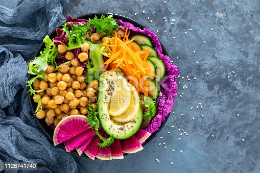Salad Buddha bowl with fresh cucumber, avocado, watermelon radish, raw carrot, lettuce and chickpea for lunch. Healthy vegetarian food. Vegan vegetable dish. Top view