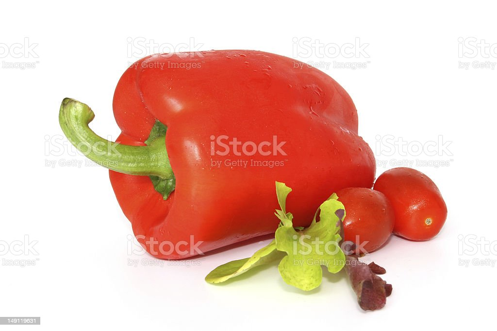 Salad Collection Red Pepper Tomatoes and Lettuce royalty-free stock photo