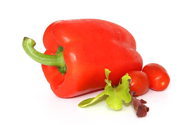 Salad Collection Red Pepper Tomatoes and Lettuce stock photo