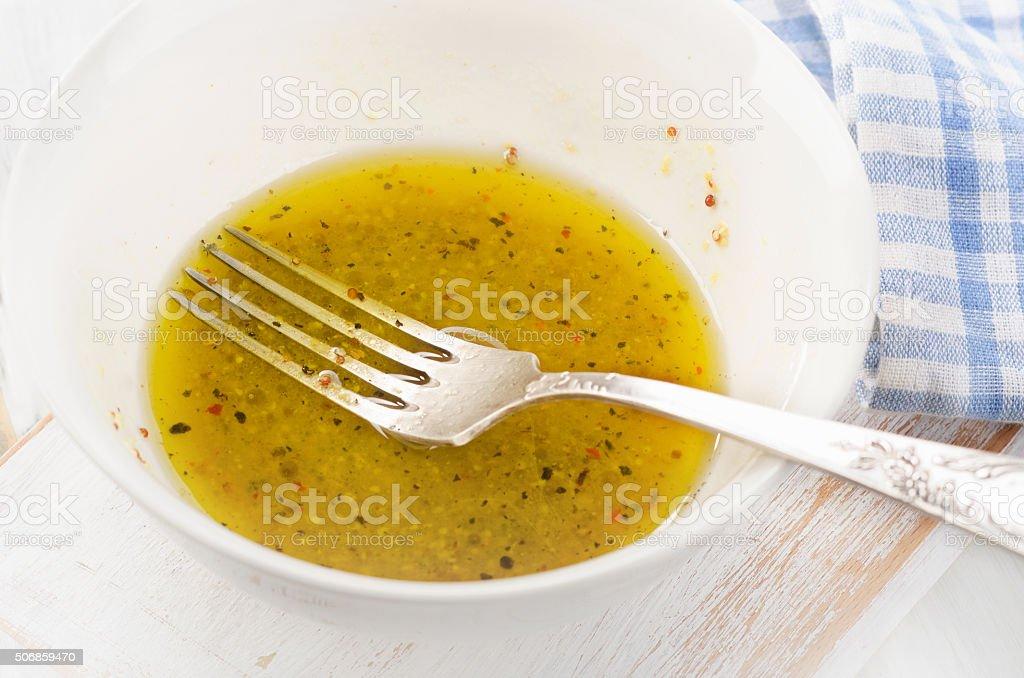Salad dressing. Selective focus. stock photo