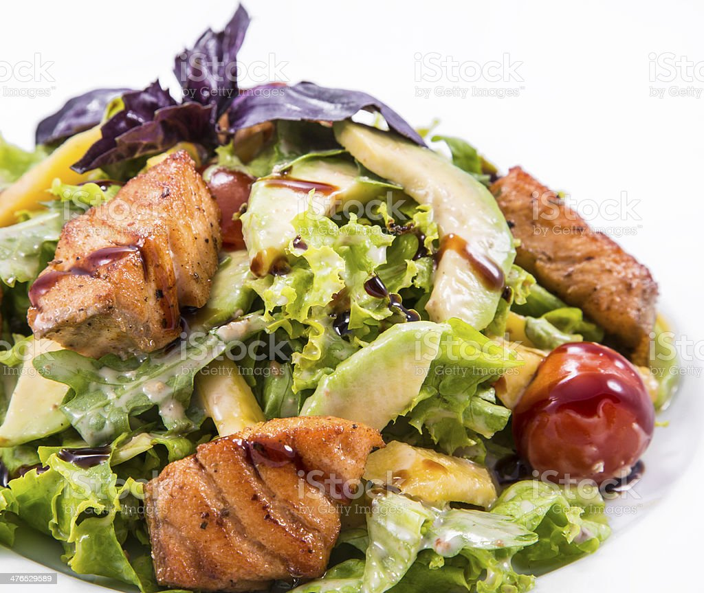 salad fish with fresh lettuce leaves and basil royalty-free stock photo