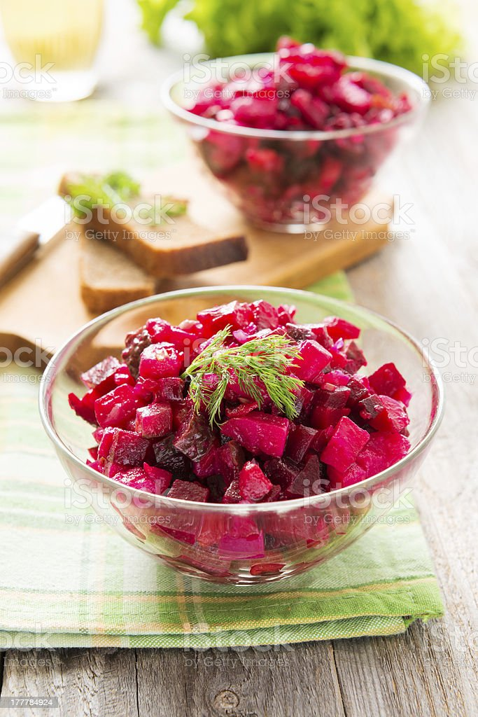 Salad from boiled beetroot and potato stock photo