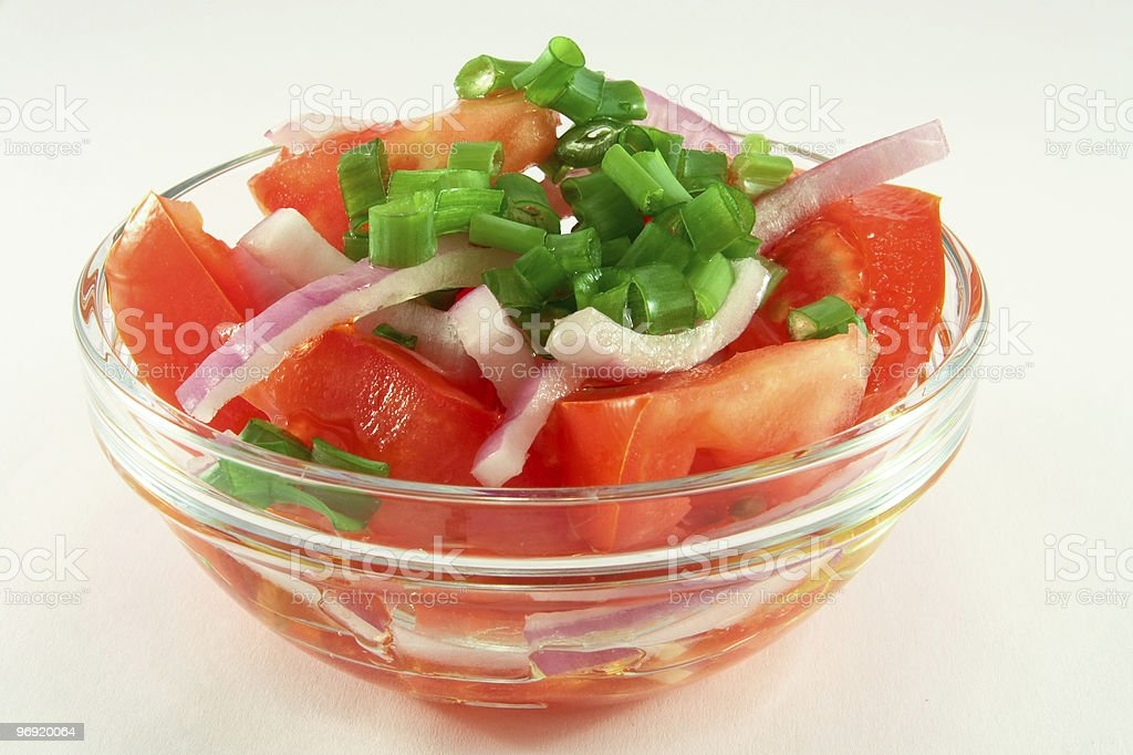 Salad from tomatoes and onions royalty-free stock photo