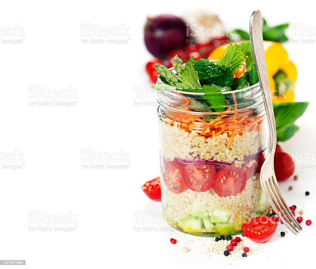 Salad in a jar stock photo