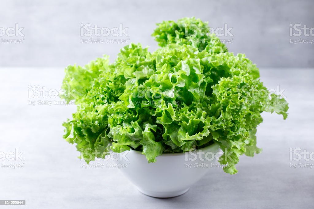 Salad leaves in a white bowl stock photo
