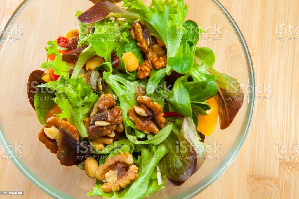Salad macro on wood stock photo