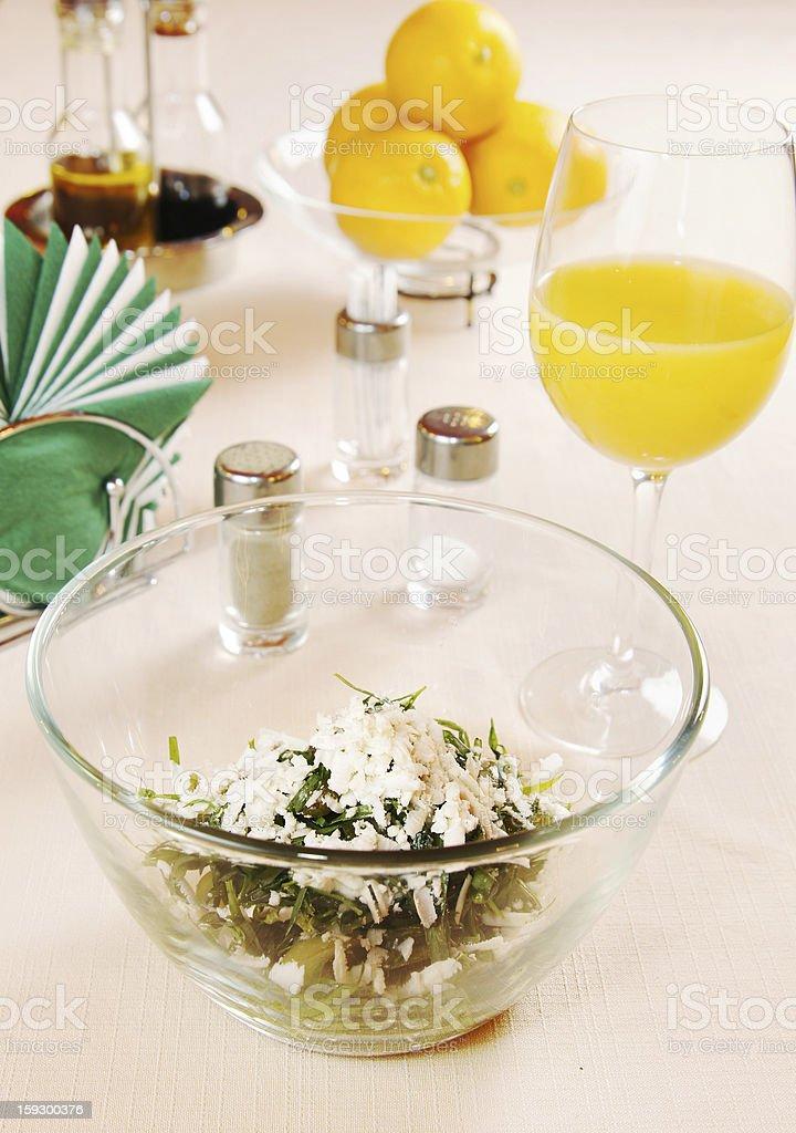Salad made of fresh tarragon and green grapes royalty-free stock photo