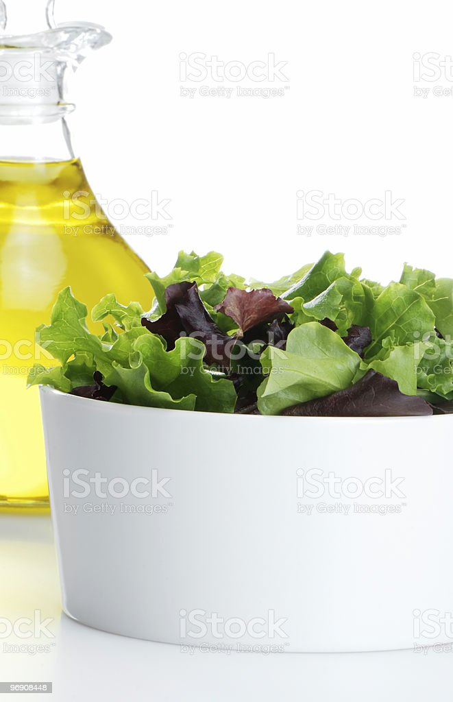 Salad mix and oil royalty-free stock photo