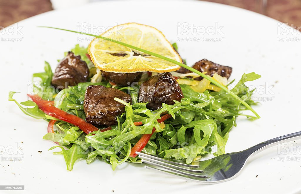 salad of arugula and duck meat royalty-free stock photo
