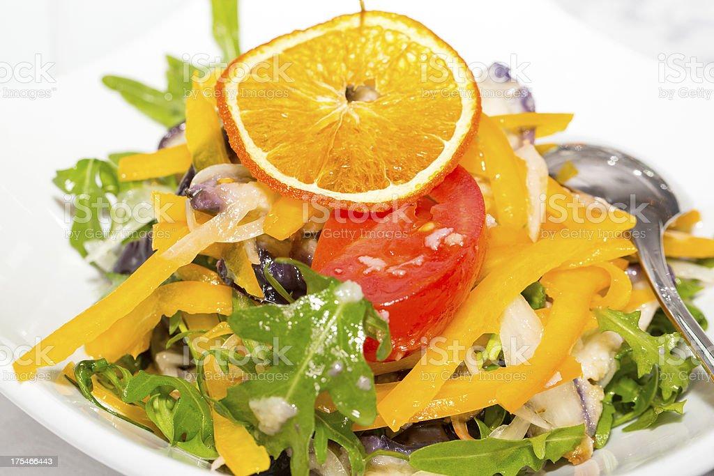 salad of arugula and fresh vegetables royalty-free stock photo