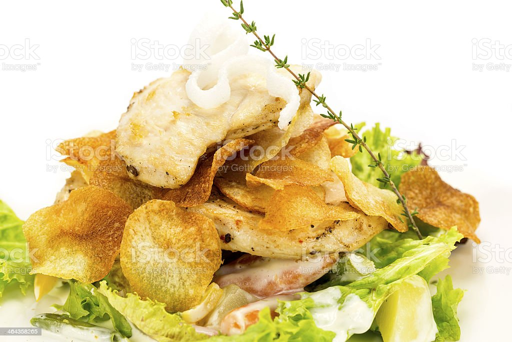 salad of chicken and potato chips royalty-free stock photo