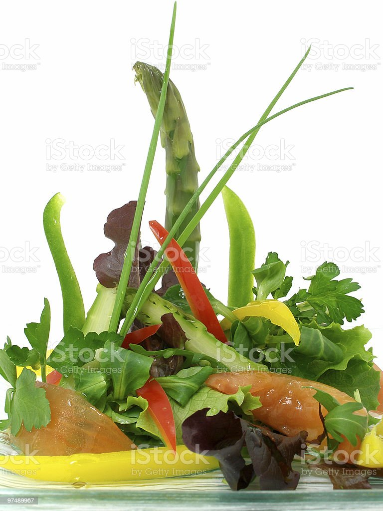 Salad of raw vegetables and asparagus 2 royalty-free stock photo