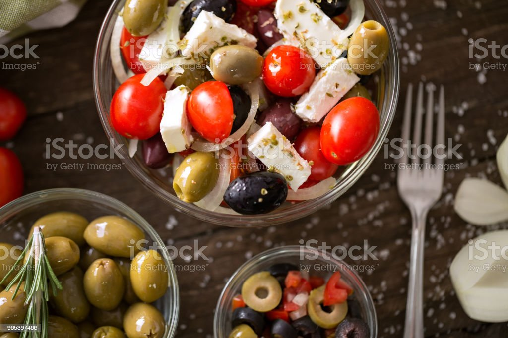 Salad of vegetables with olive- Healthy fresh vegetarian food royalty-free stock photo