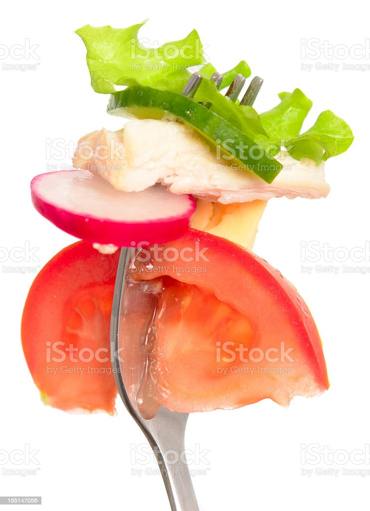 salad on fork royalty-free stock photo