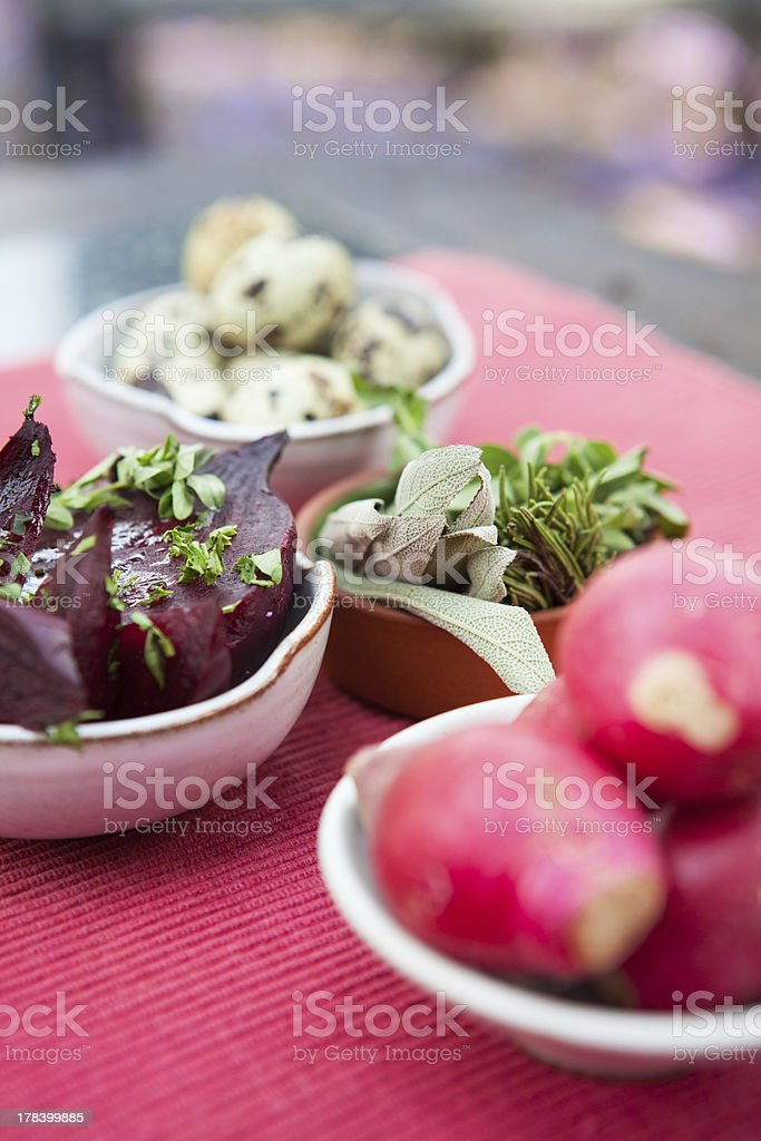 Salad on top of table. royalty-free stock photo