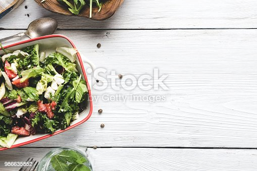 close up of a salad with copy space from above