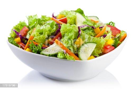 Fresh Salad Plate on White Background